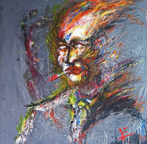 O sorriso vermelho do palhaço se mistura com a brasa quente (The clown's red smile mixes with the hot ember)
